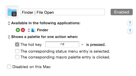 Finderでパレットを表示するグループ